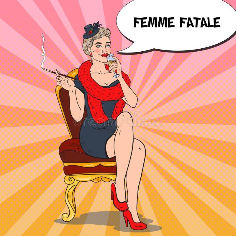 Härlig kvinna i päls med exponeringsglas av Champagne Femme fatale Retro illustration för popkonst royaltyfri illustrationer