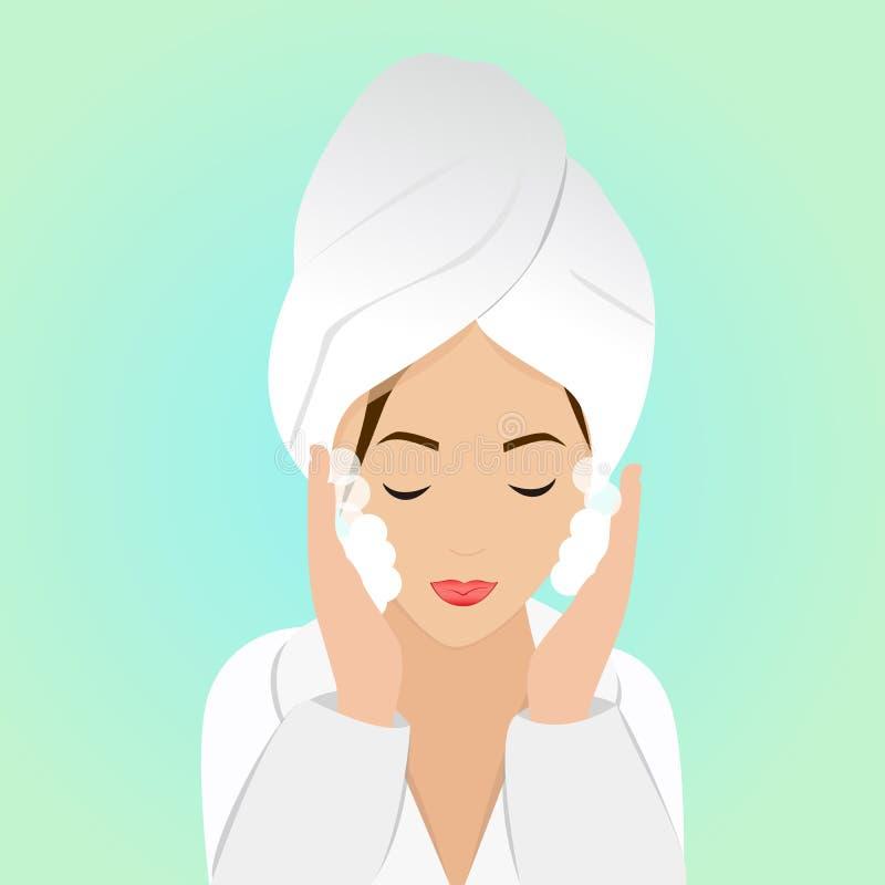 Härlig kvinna i process av att tvätta framsidan i badrock och handduk också vektor för coreldrawillustration vektor illustrationer