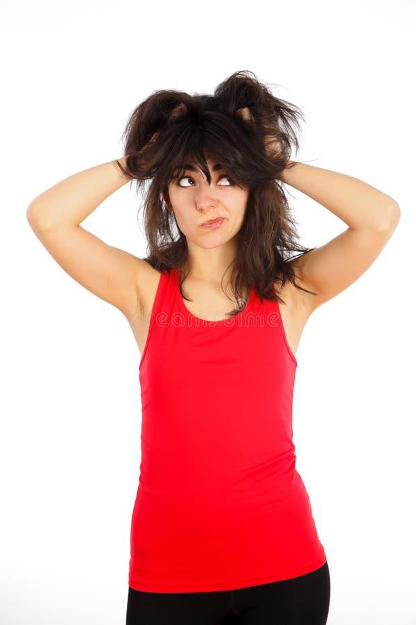 Vad gör med mitt hår? royaltyfri fotografi