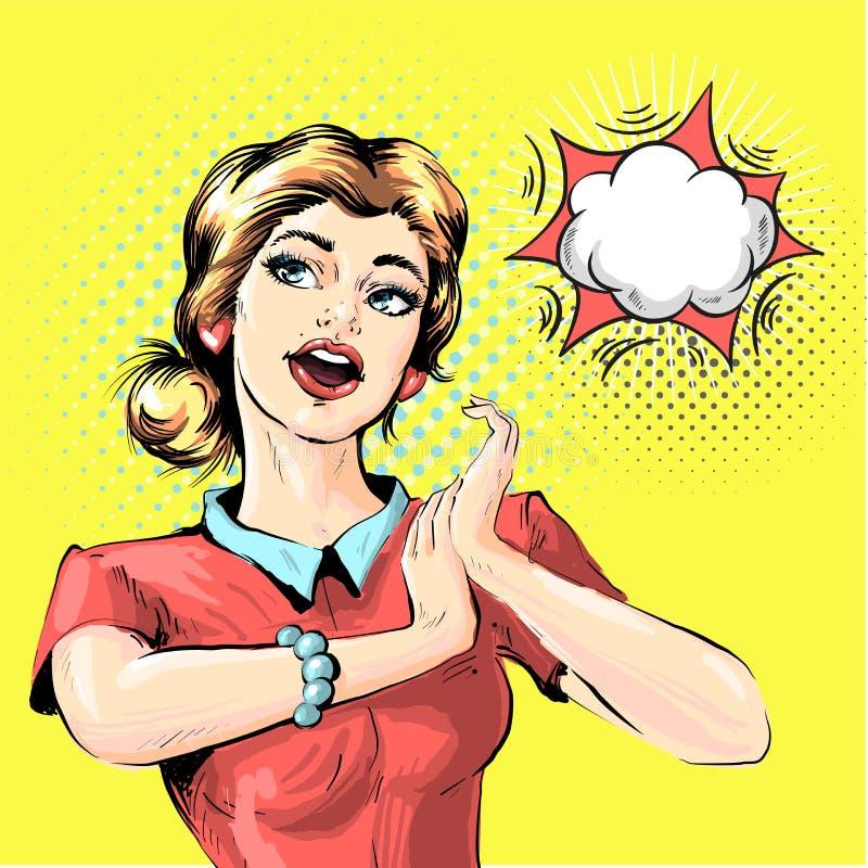 Härlig kvinna med öppet munsamtal Utsmyckat flickastift upp flicka Illustration för vektor för stil för komiker för popkonst retr royaltyfri illustrationer