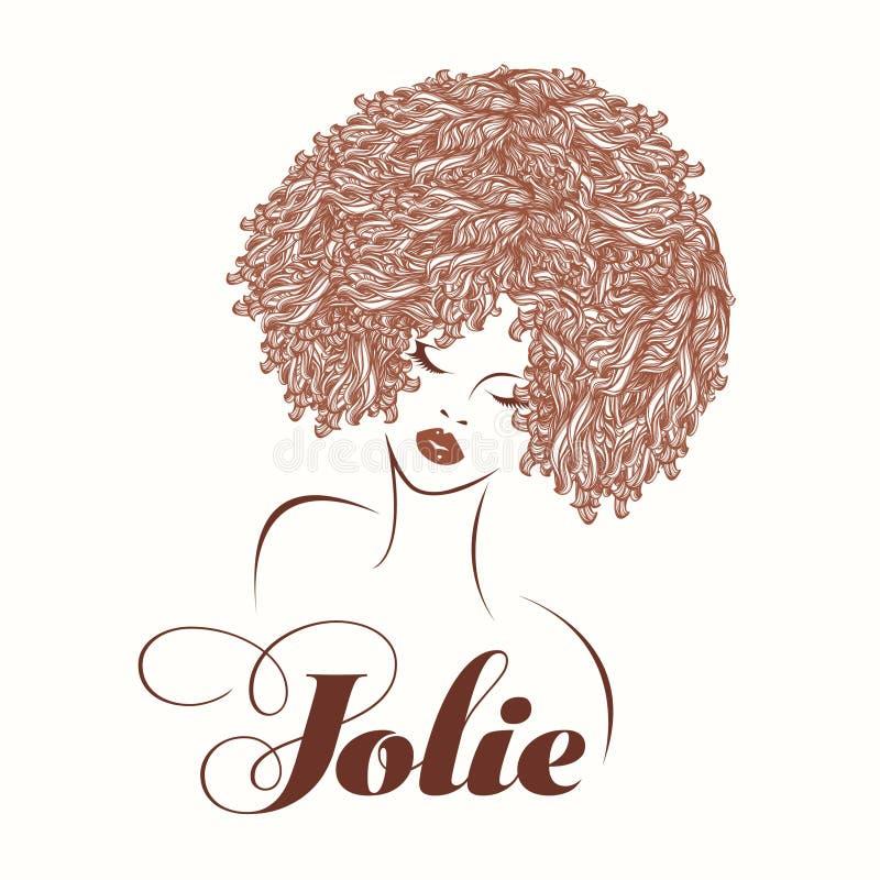 Härlig kvinna med afro- lockigt hår och djärv makeup royaltyfri illustrationer