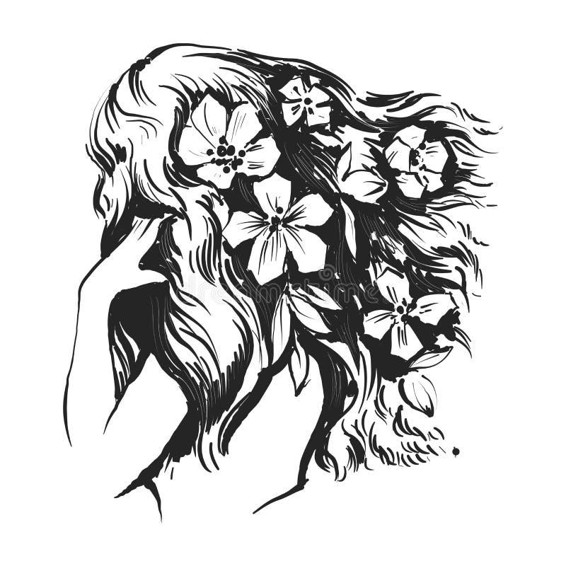 Härlig kvinna med blommor och långa hår royaltyfri illustrationer