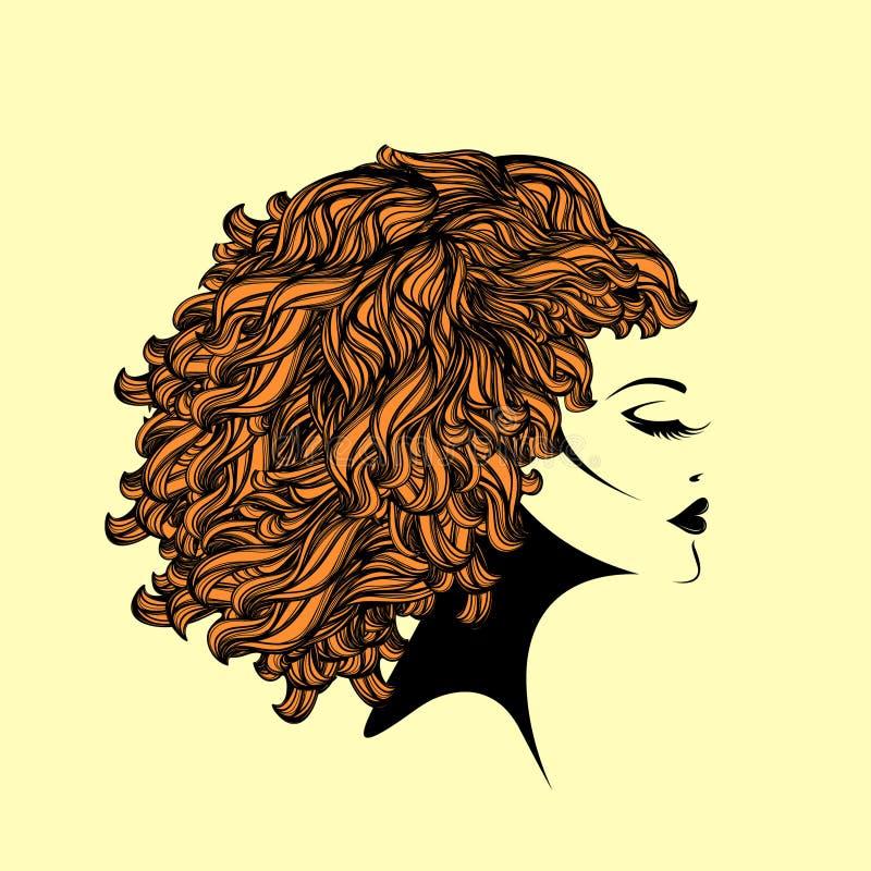 Härlig kvinna med den afro- lockiga frisyren och elegant makeup vektor illustrationer