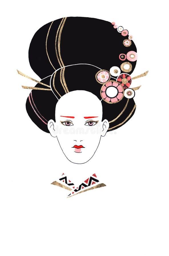 Härlig kvinna med den japanska frisyren Färgpulver- och vattenfärgteknik royaltyfria foton