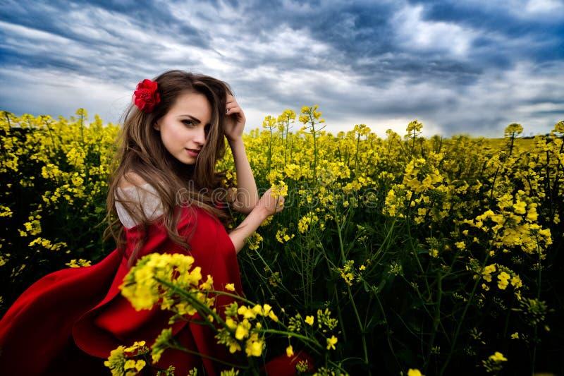 Härlig kvinna med den röda kappan i gult blommande fält arkivfoton