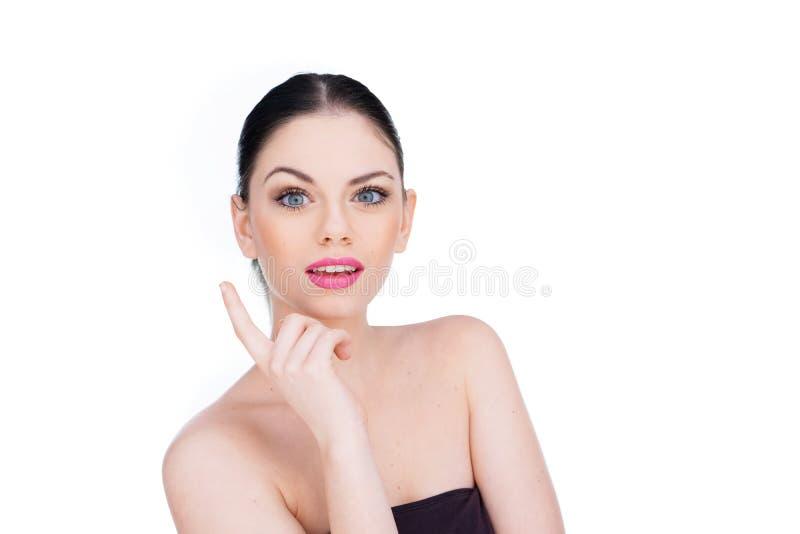 Härlig kvinna med en ljus idé royaltyfri fotografi