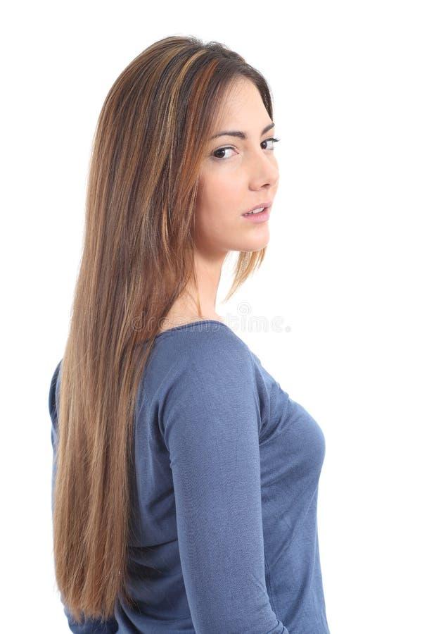 Härlig kvinna med ett långt hår royaltyfria foton