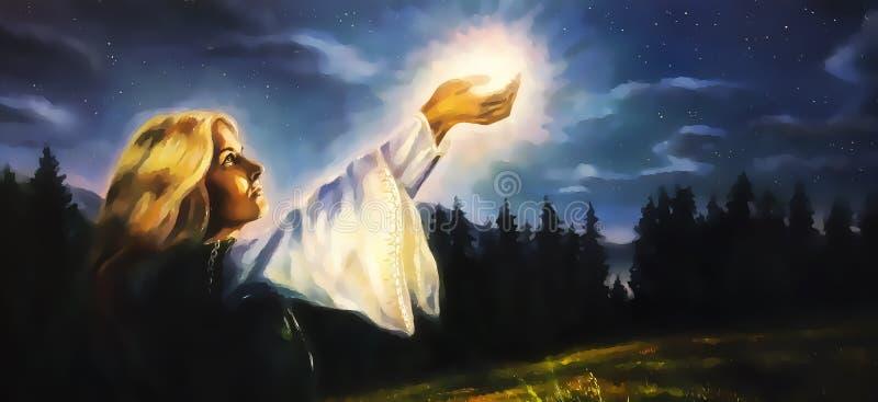 Härlig kvinna med händer som rymmer som är ljusa i det nattliga landskapet, datordiagram från målning arkivfoton