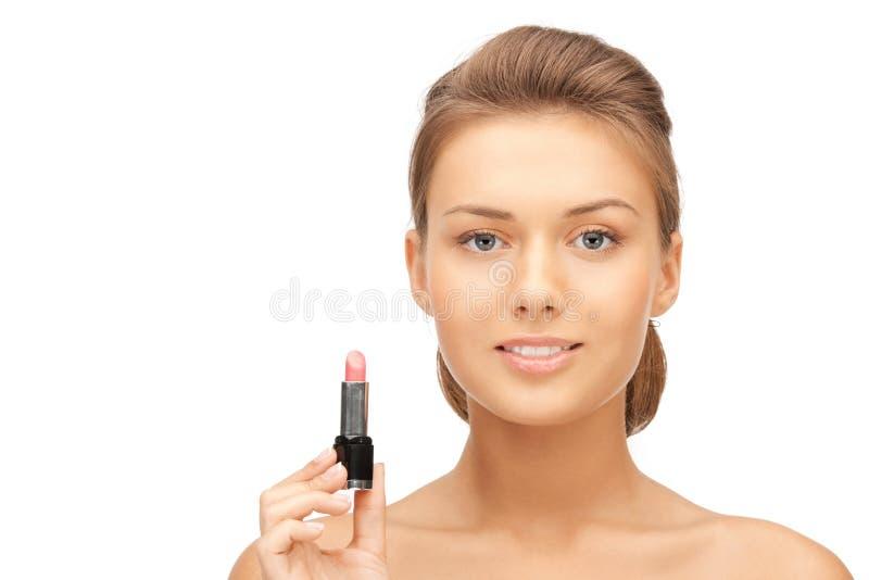 Härlig kvinna med läppstift arkivfoton