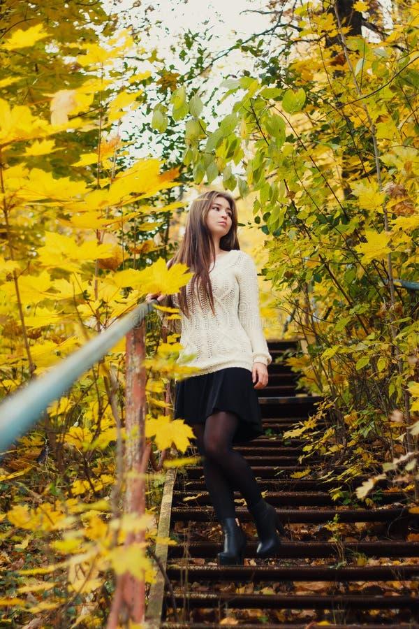 Härlig kvinna med långt hår på gul bakgrund för höstsidor arkivbild