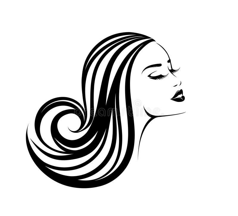 Härlig kvinna med långt krabbt hår och djärv makeup stock illustrationer