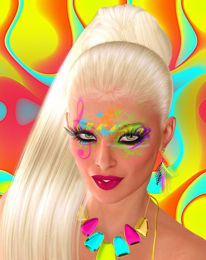 Härlig kvinna med långt rakt blont hår vektor illustrationer
