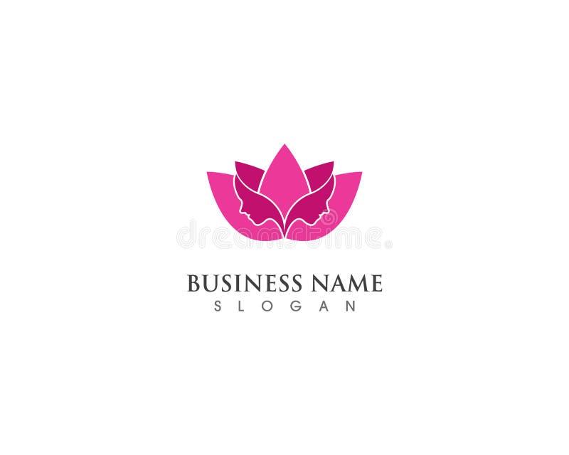 Härlig kvinna med lotusblomma för brunnsort och skönhetsalong vektor illustrationer