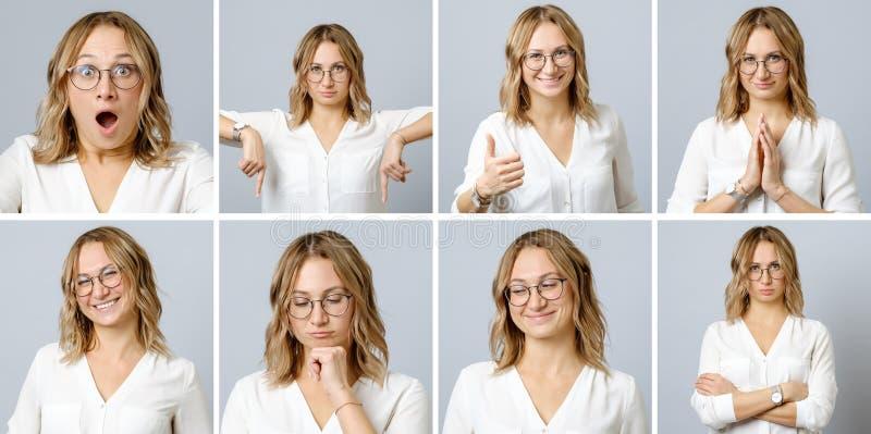 Härlig kvinna med olika ansiktsuttryck och gester arkivfoto