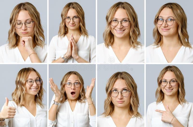 Härlig kvinna med olika ansiktsuttryck och gester arkivbilder