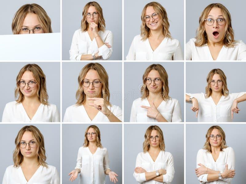 Härlig kvinna med olika ansiktsuttryck och gester arkivfoton