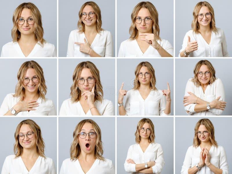 Härlig kvinna med olika ansiktsuttryck och gester royaltyfri bild