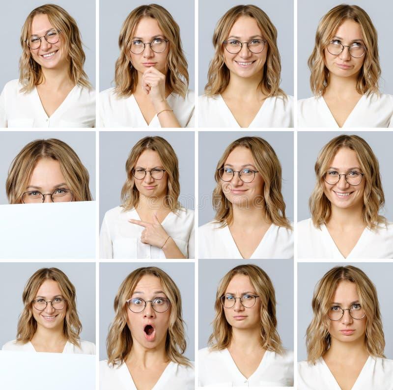 Härlig kvinna med olika ansiktsuttryck och gester royaltyfria foton