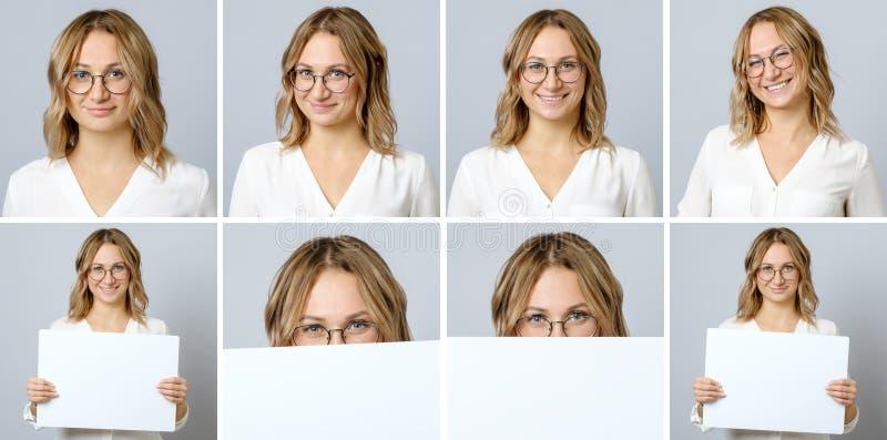 Härlig kvinna med olika ansiktsuttryck och gester arkivbild