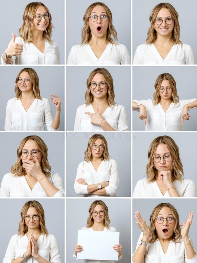 Härlig kvinna med olika ansiktsuttryck och gester royaltyfri foto
