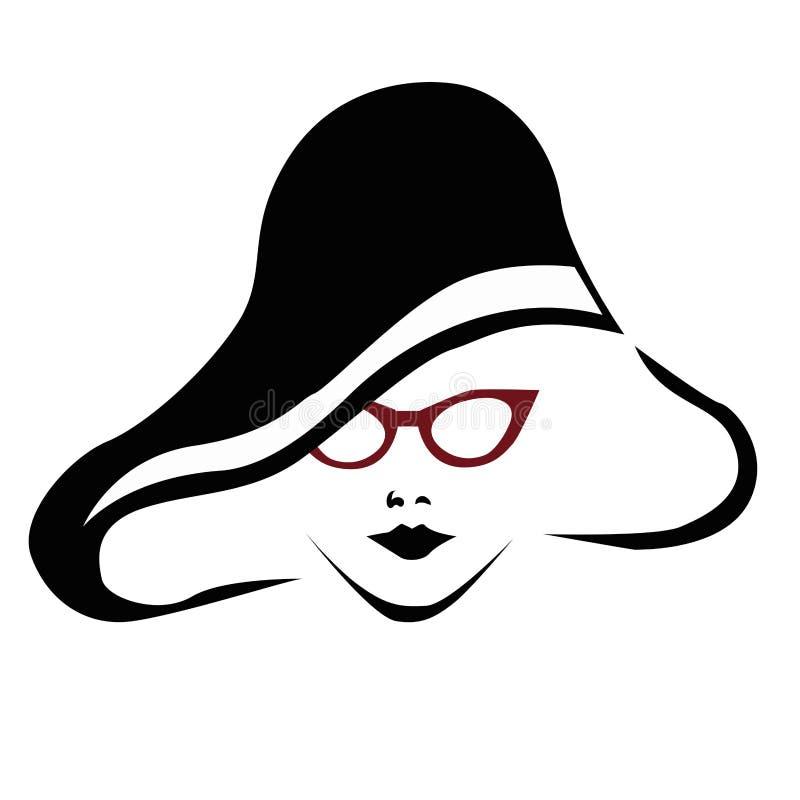 Härlig kvinna med röda exponeringsglas stock illustrationer