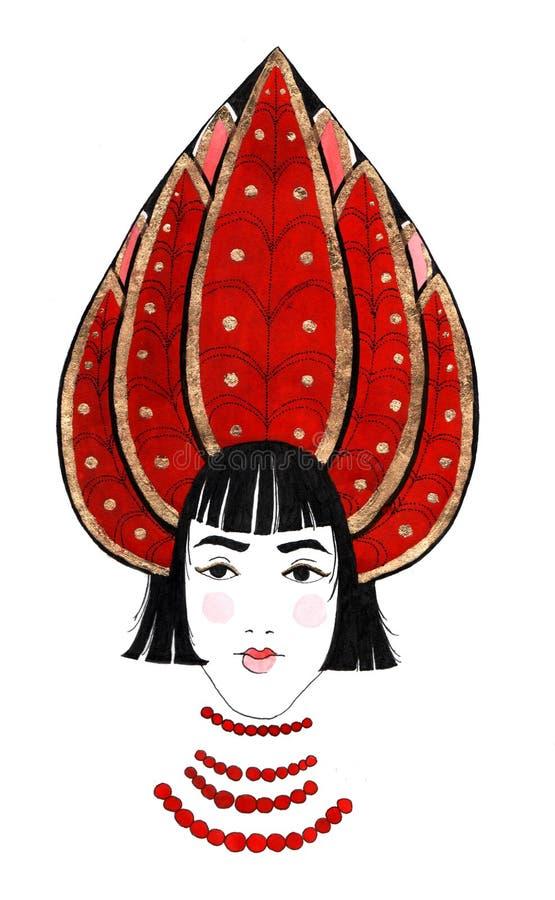 Härlig kvinna med rysshuvudbonaden royaltyfri fotografi