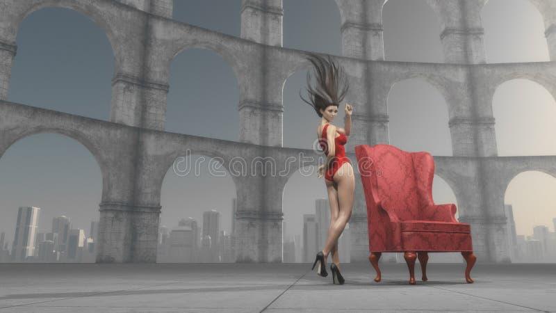 Härlig kvinna nära antika kolonner vektor illustrationer