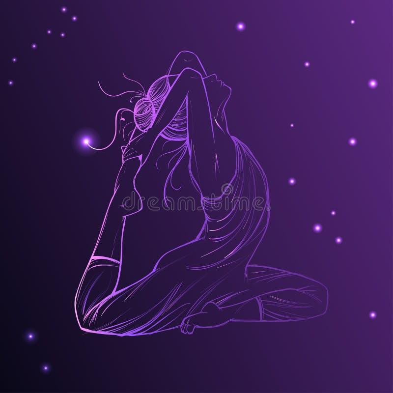 Härlig kvinna på den kosmiska himlen Vektorillustration av ljus purpurfärgad astrologi för zodiacal symboler för stjärnaplanet, stock illustrationer