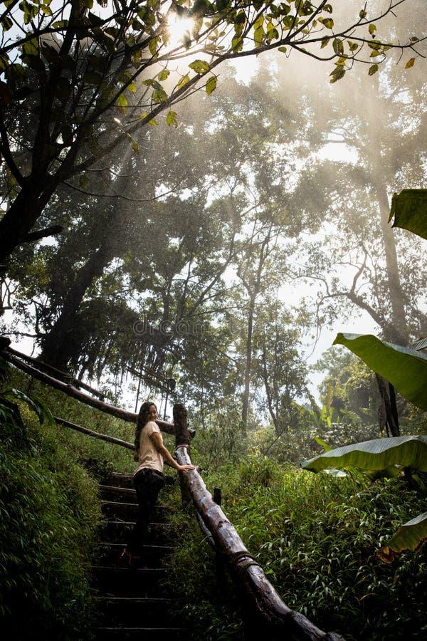 Härlig kvinna på trappa på en dimmig och våt rainforestbana i Chiang Mai & x28; Thailand arkivbilder