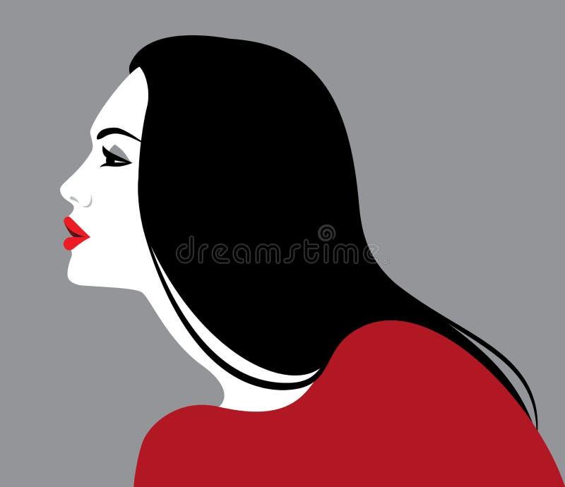Härlig kvinna, profil stock illustrationer