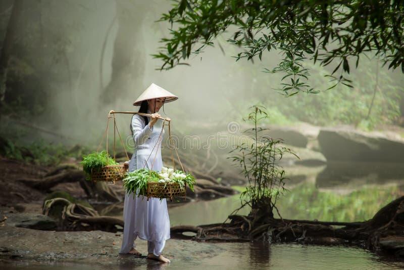 Härlig kvinna som bär en hattklänning Ao Dai traditionella Vietnames royaltyfri fotografi