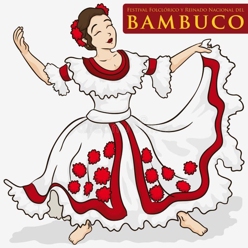 Härlig kvinna som bär en traditionell colombiansk klänning för att dansa Bambuco, vektorillustration vektor illustrationer