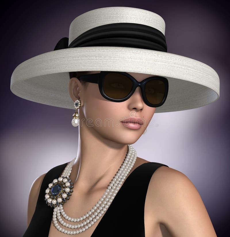 Härlig kvinna som bär klassiska glamourmodesmycken stock illustrationer