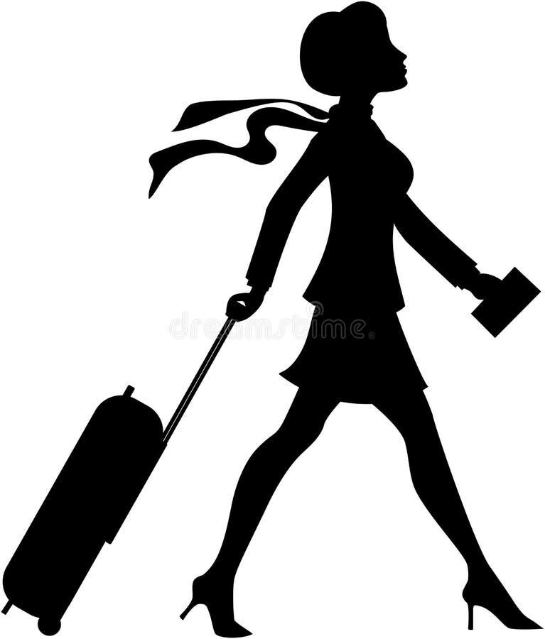Härlig kvinna som drar spårvagnkonturn stock illustrationer