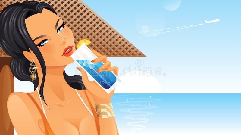 Härlig kvinna som dricker coctailen vektor illustrationer