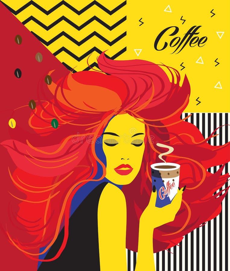 Härlig kvinna som dricker kaffekoppen stock illustrationer