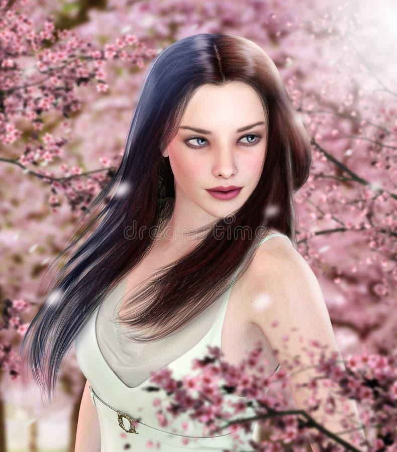 Härlig kvinna som går i körsbärsröd fruktträdgård royaltyfri illustrationer
