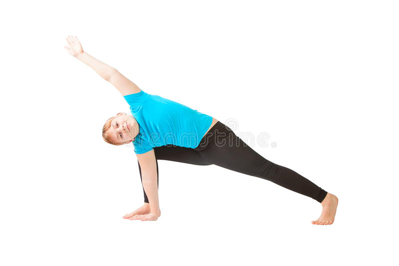 Härlig kvinna som gör yogunavitbakgrund royaltyfria foton