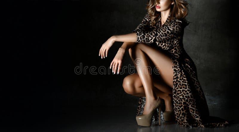 Härlig kvinna som poserar i leopardtryckklänning på mörker royaltyfria foton