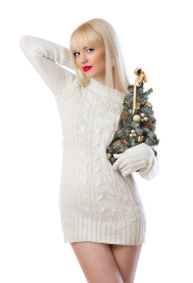 Härlig kvinna som rymmer den små jultreen arkivbild