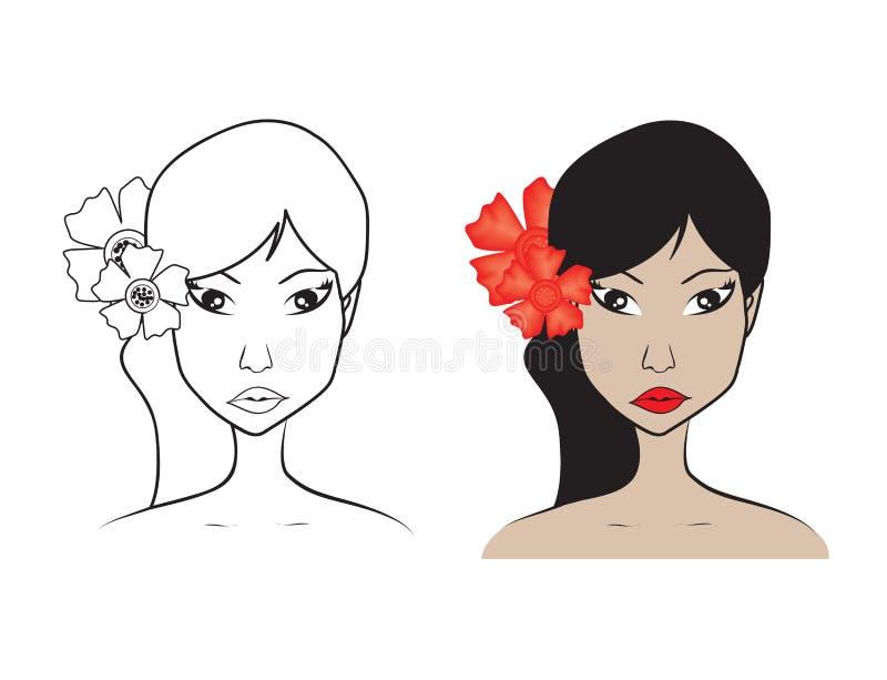 Härlig kvinnaframsida med blommavektorillustrationen, flickamodell, modestil, skönhet Diagrammet skissar teckningen, logosalong vektor illustrationer