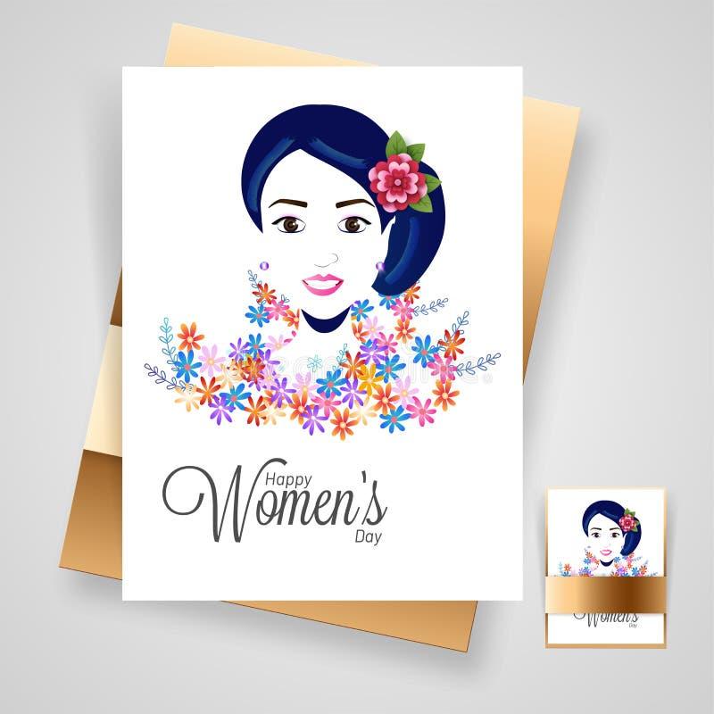 Härlig kvinnaframsida på färgrika blommor dekorerat hälsningkort royaltyfri illustrationer