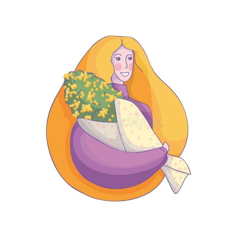 Härlig kvinnainnehavbukett av mimosablommor le barn för flicka Vektorbeståndsdel för 8 vykort för mars stock illustrationer