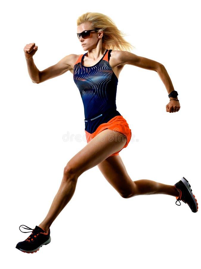 Härlig kvinnalöparejogger som joggar körande isolerad vit bakgrund arkivfoton