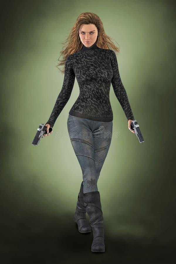 Härlig kvinnamördare som rymmer två vapen som stirrar på kameran stock illustrationer