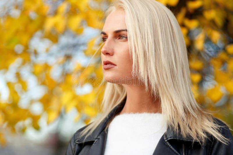 Härlig kvinnamodell med rakt långt blont hår utomhus fotografering för bildbyråer