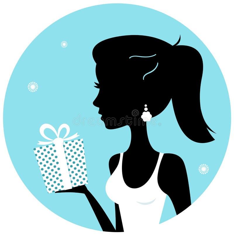 Härlig kvinnasilhouette med gåvan vektor illustrationer