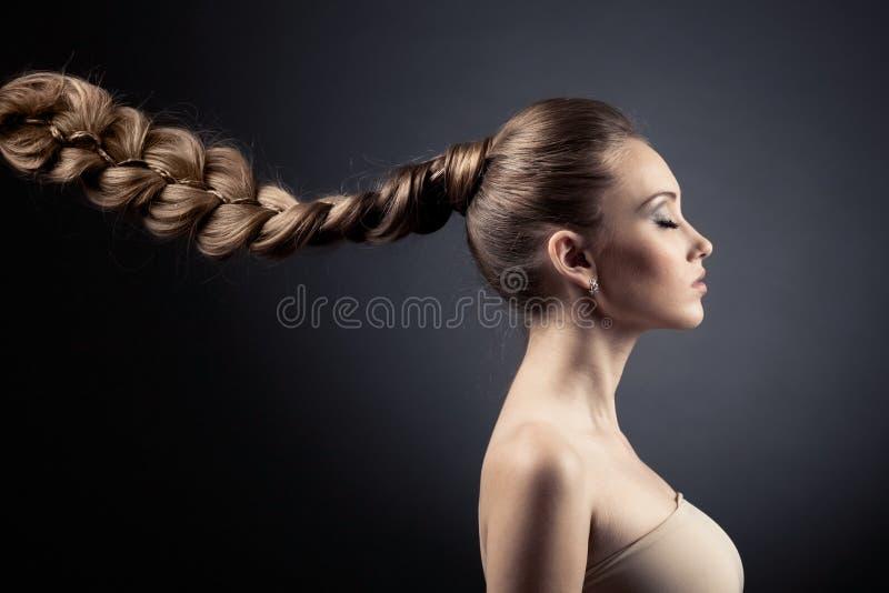 Härlig kvinnastående. Långt Brown hår arkivbild