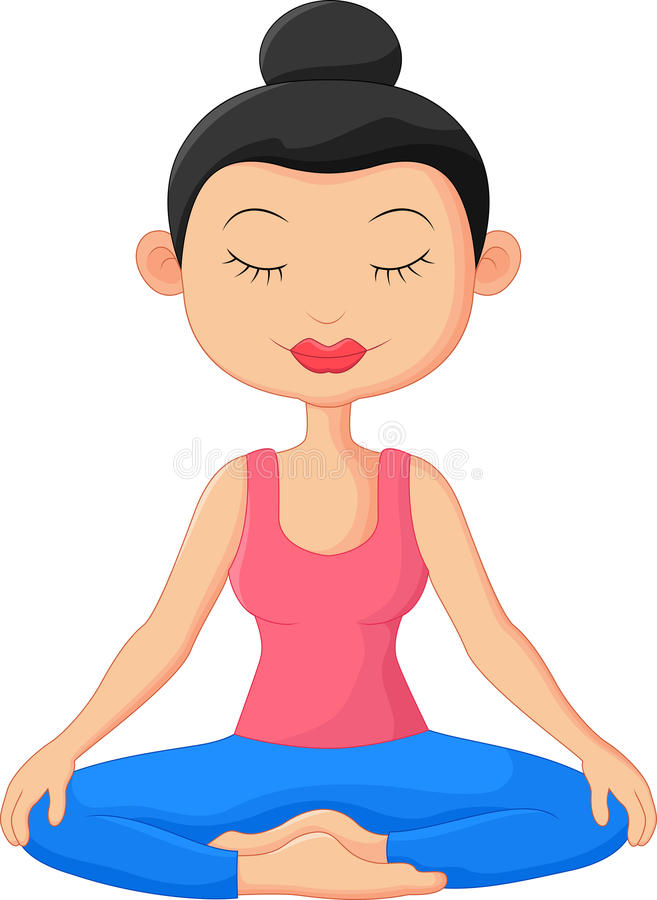 Härlig kvinnatecknad film som gör yogameditation vektor illustrationer
