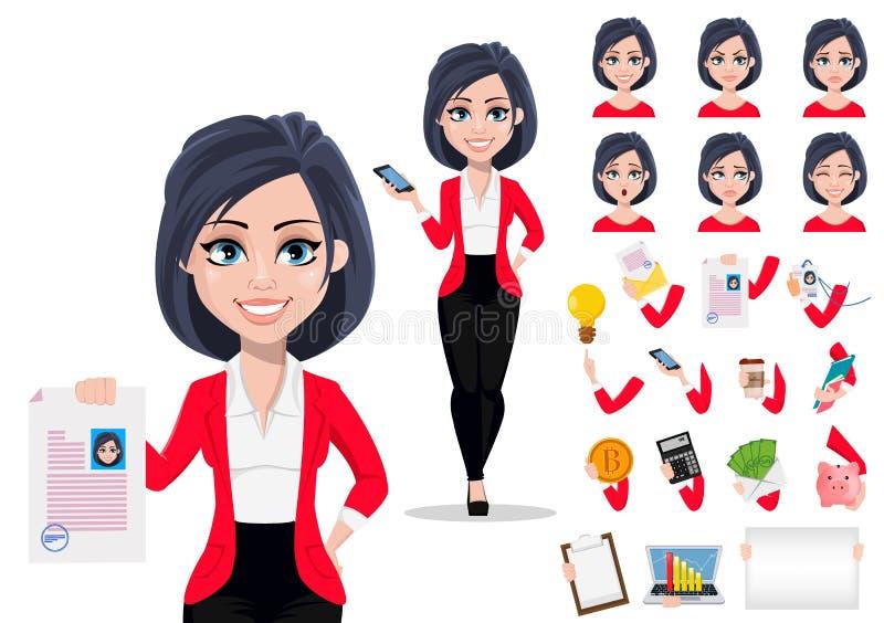 Härlig kvinnlig bankir i affärsdräkt Packe av kroppsdelar, sinnesrörelser och saker royaltyfri illustrationer